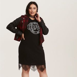 Torrid Black AC/DC Graphic Lace Trim Shirt Dress